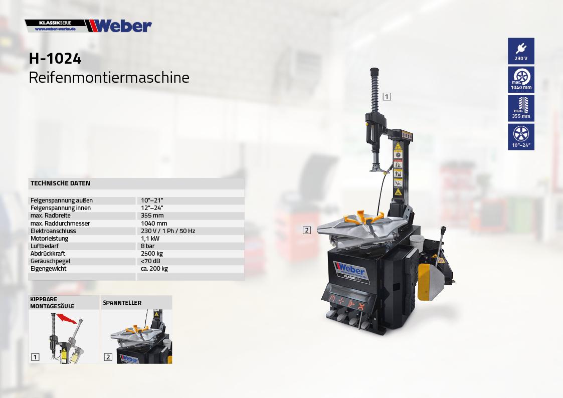 PKW Reifen Montiermaschine Weber Klassik Serie H-1024