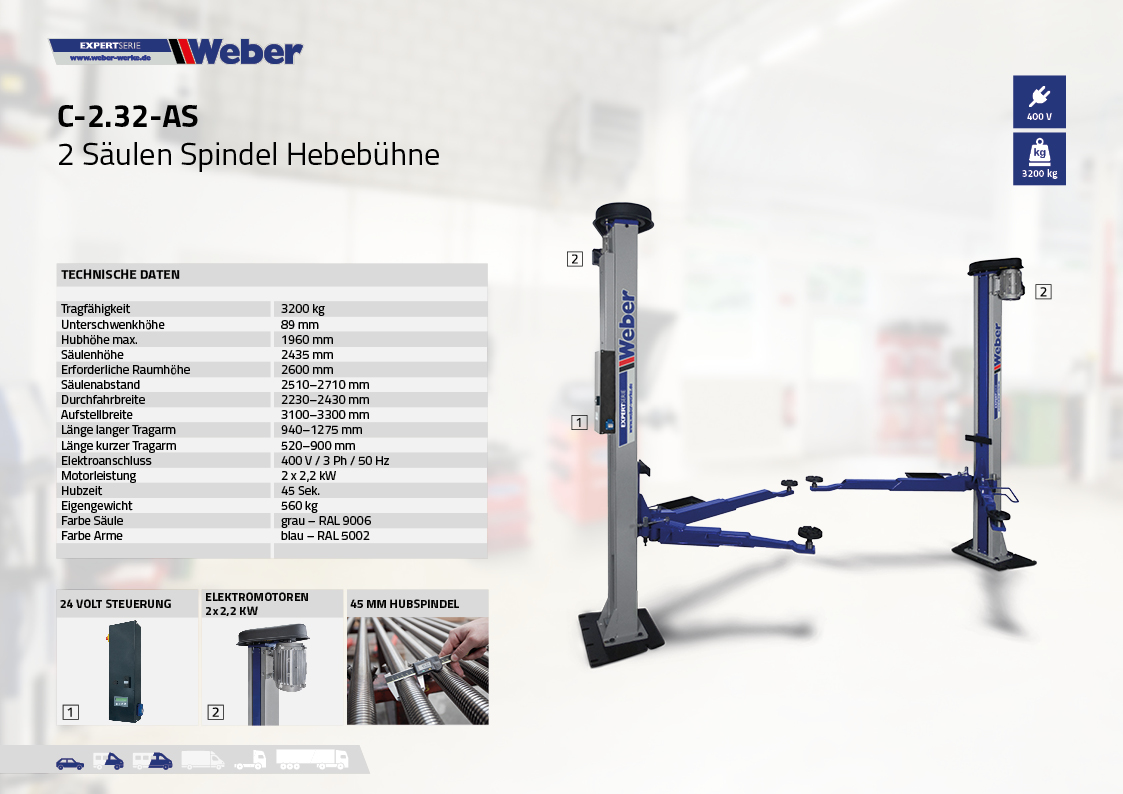 Weber 2 Säulen Spindel Hebebühne C 2.32 A-S