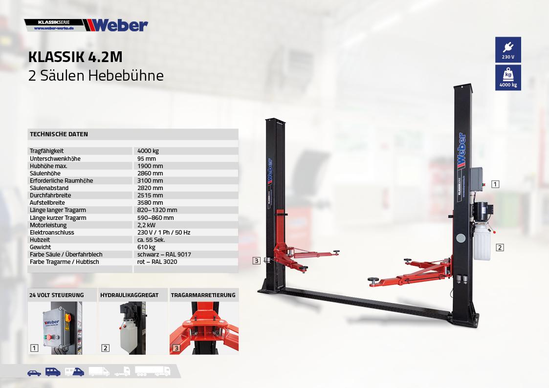 2 Säulen Hebebühne Weber Klassik Serie – Klassik 4.2M