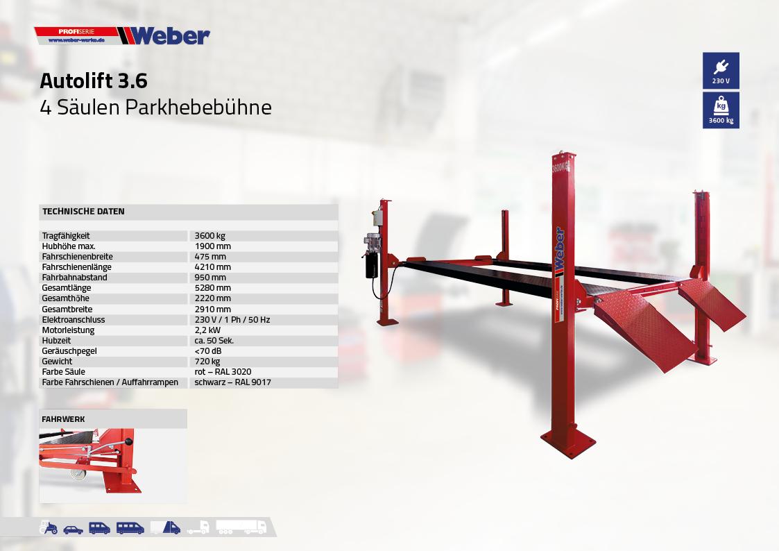 Mobile 4 Säulen Hebebühne - Weber Profi Serie Autolift 3.6