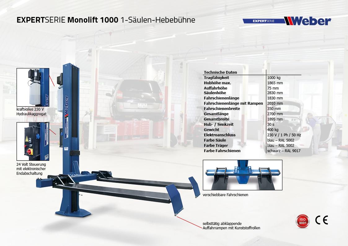 Weber 1 Säulen Hebebühne Monolift 1000