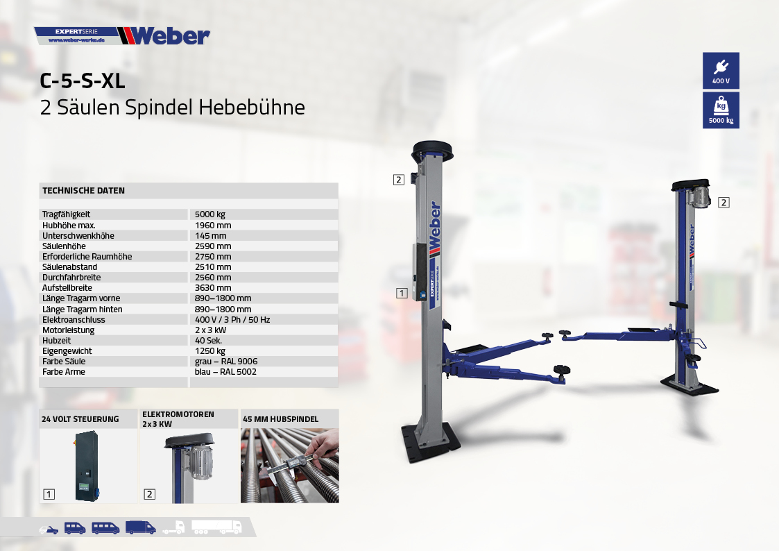 Weber 2 Säulen Spindel Hebebühne C5S-XL