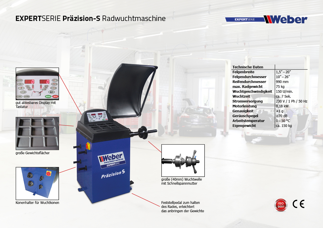 PKW Radwuchtmaschine Weber Expert Serie Präzision-S