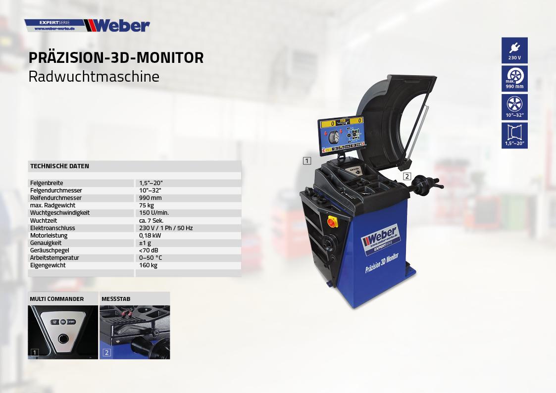 PKW Radwuchtmaschine Präzision-3D-Monitor