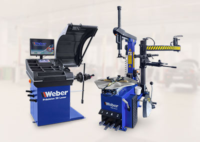 PKW Radwuchtmaschine Präzision-3D-Laser + Reifen Montiermaschine 1026-XL-2HP Weber Expert Serie