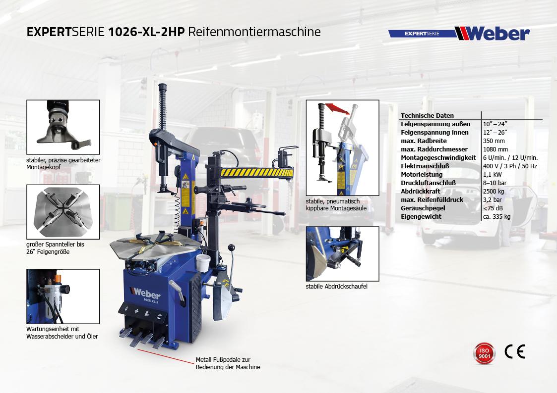PKW Reifen Montiermaschine 1026-XL-2HP