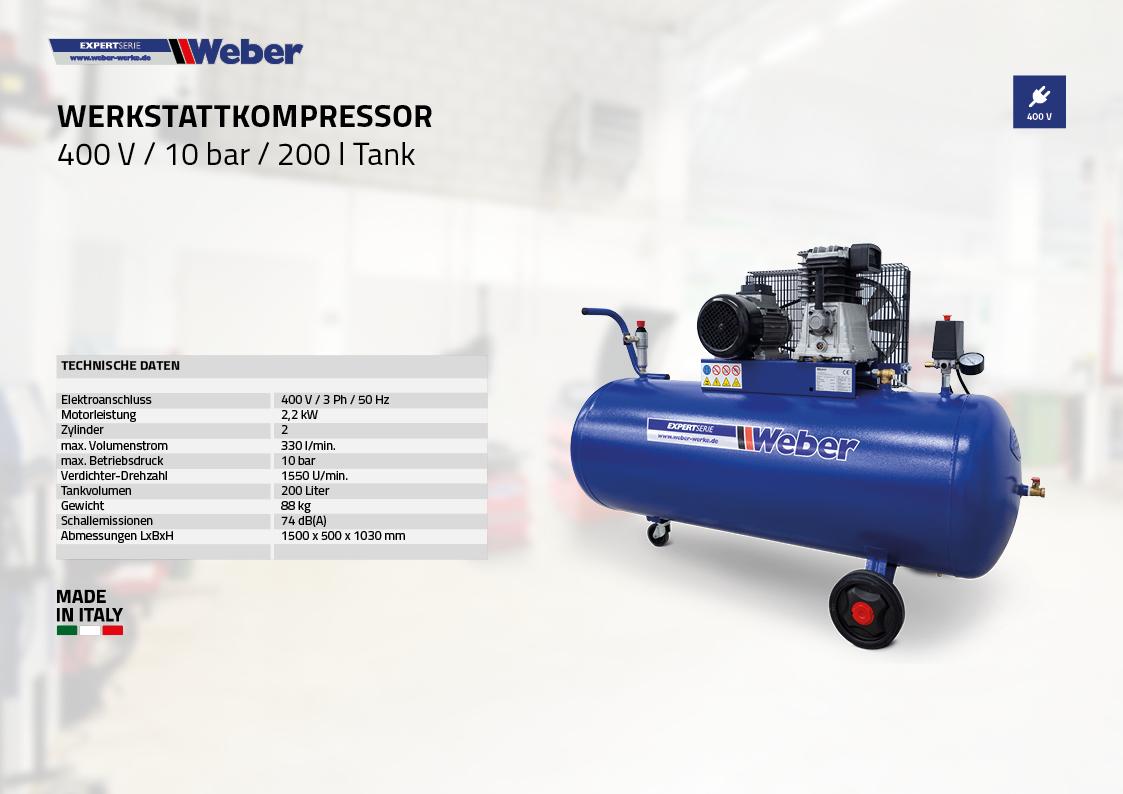 Werkstattkompressor 400 V / 10 bar / 200 l Tank