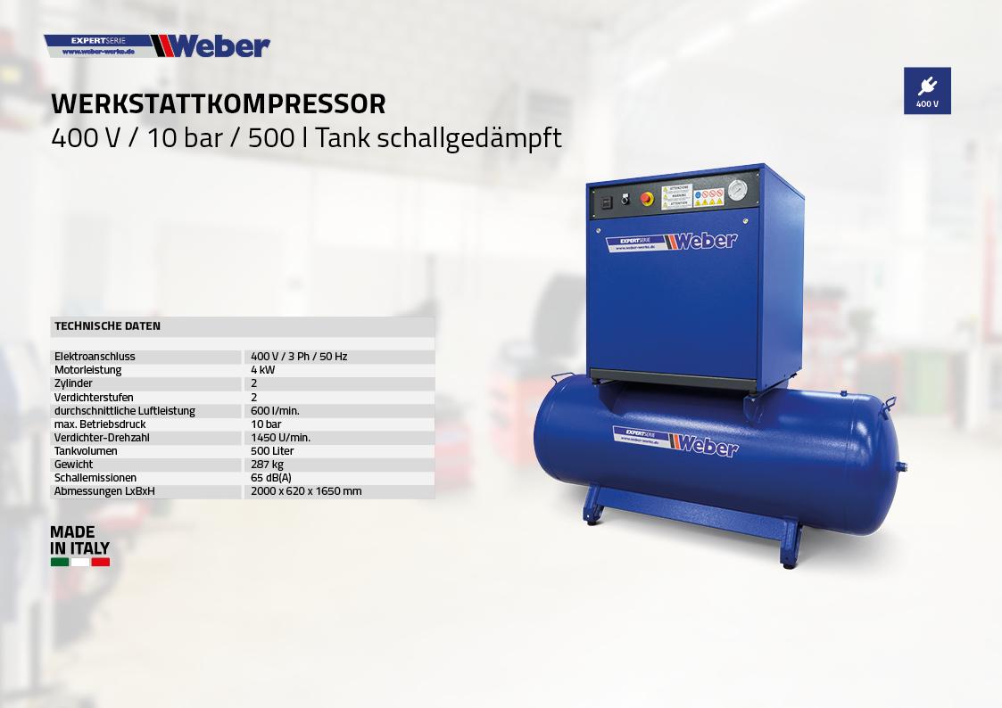 Schallgedämpfter Werkstattkompressor 400 V / 10 bar / 500 l Tank