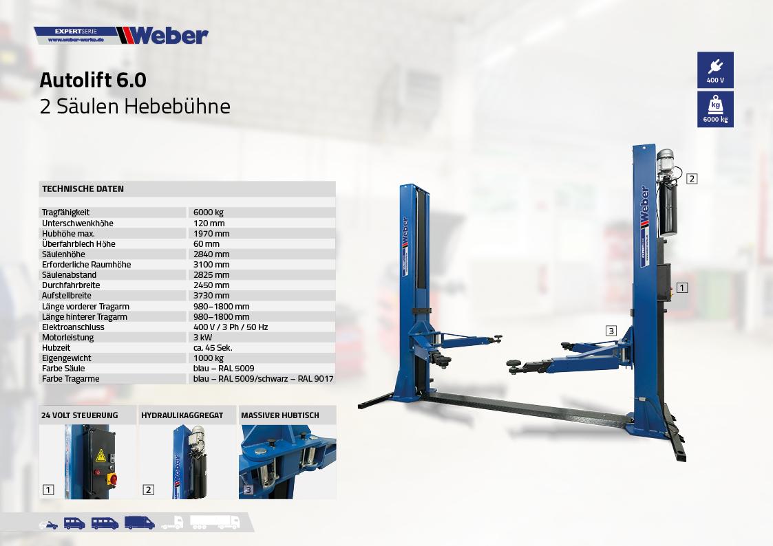 2 Säulen Hebebühne Weber Expert Serie Autolift 6.0