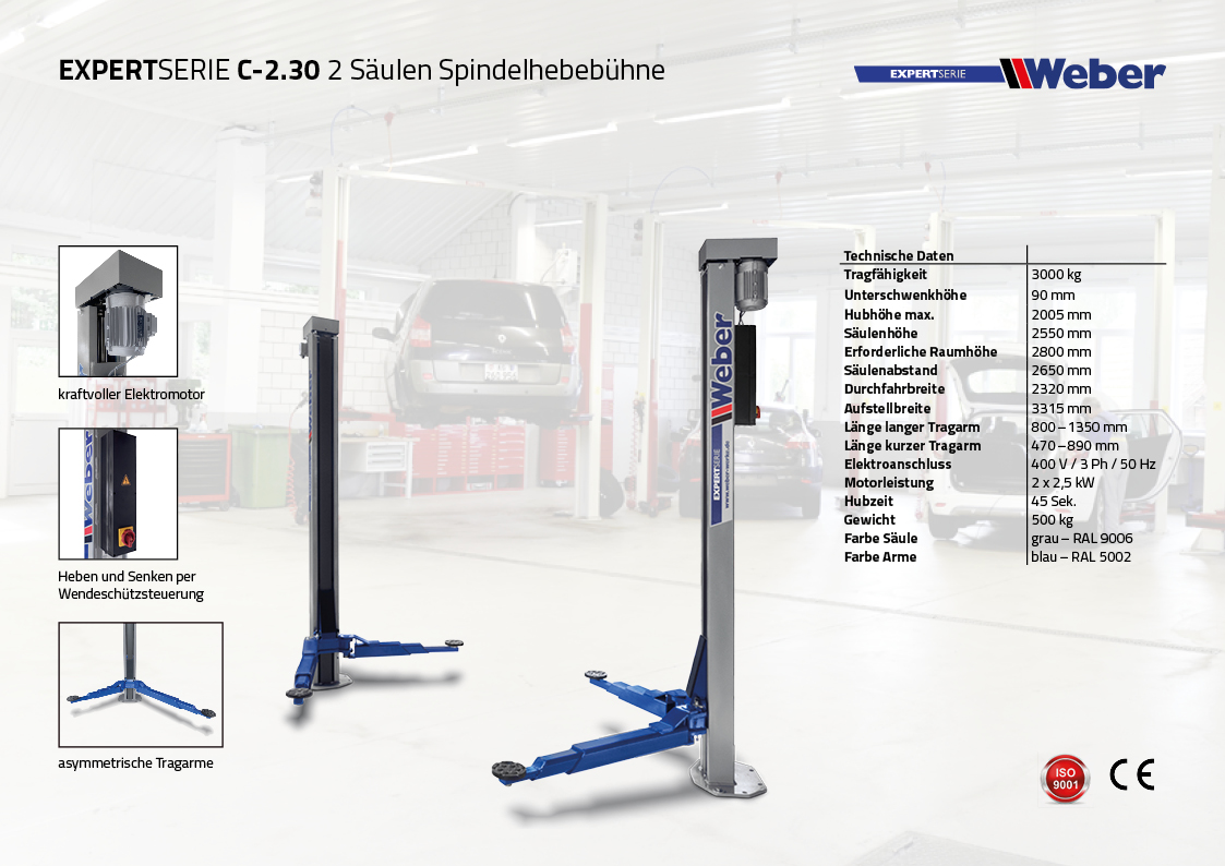 """2 Säulen """"Spindel"""" Hebebühne Weber Expert Serie C-2.30 inkl. Anker, Spindelöl und Öler"""