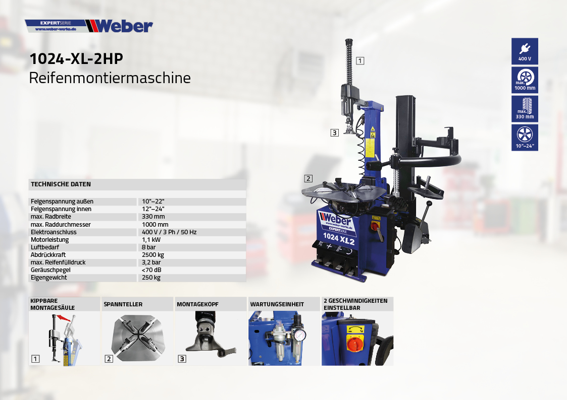 PKW Reifen Montiermaschine Weber Expert Serie 1024-XL-2HP