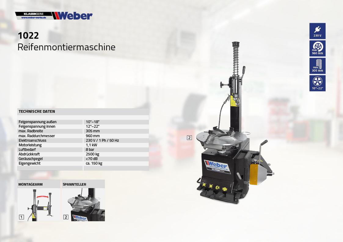 PKW Reifen Montiermaschine Weber Klassik Serie 1022