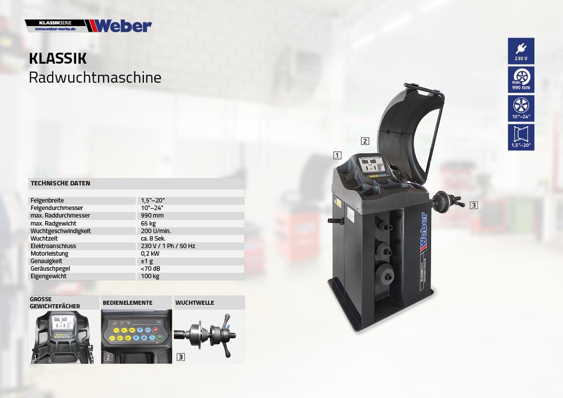 PKW Radwuchtmaschine Weber Klassik Serie