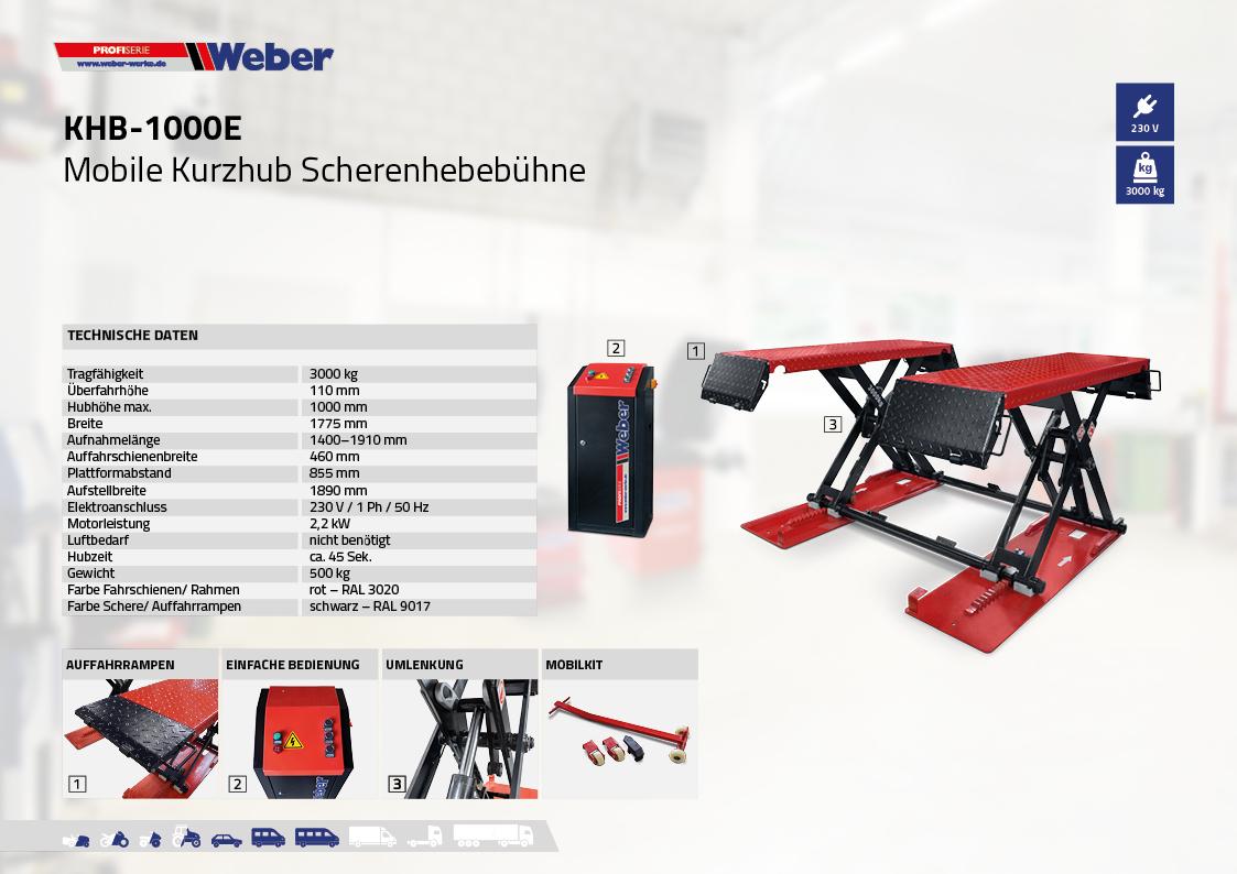 Mobile Kurzhub Scherenhebebühne Weber KHB-1000E inkl. Öl