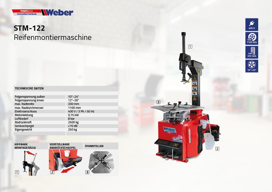PKW Reifenmontiermaschine Weber Profi Serie STM-122