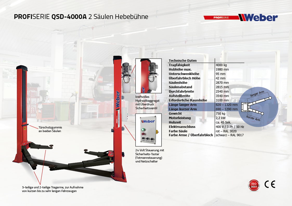 2 Säulen Hebebühne Weber Profi Serie QSD-4000A inkl. Anker und Öl