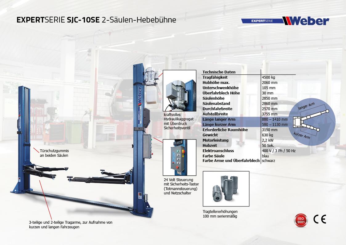 2 Säulen Hebebühne Weber Expert Serie SJC-10SE inkl. Werkstattwagen 154-teilig