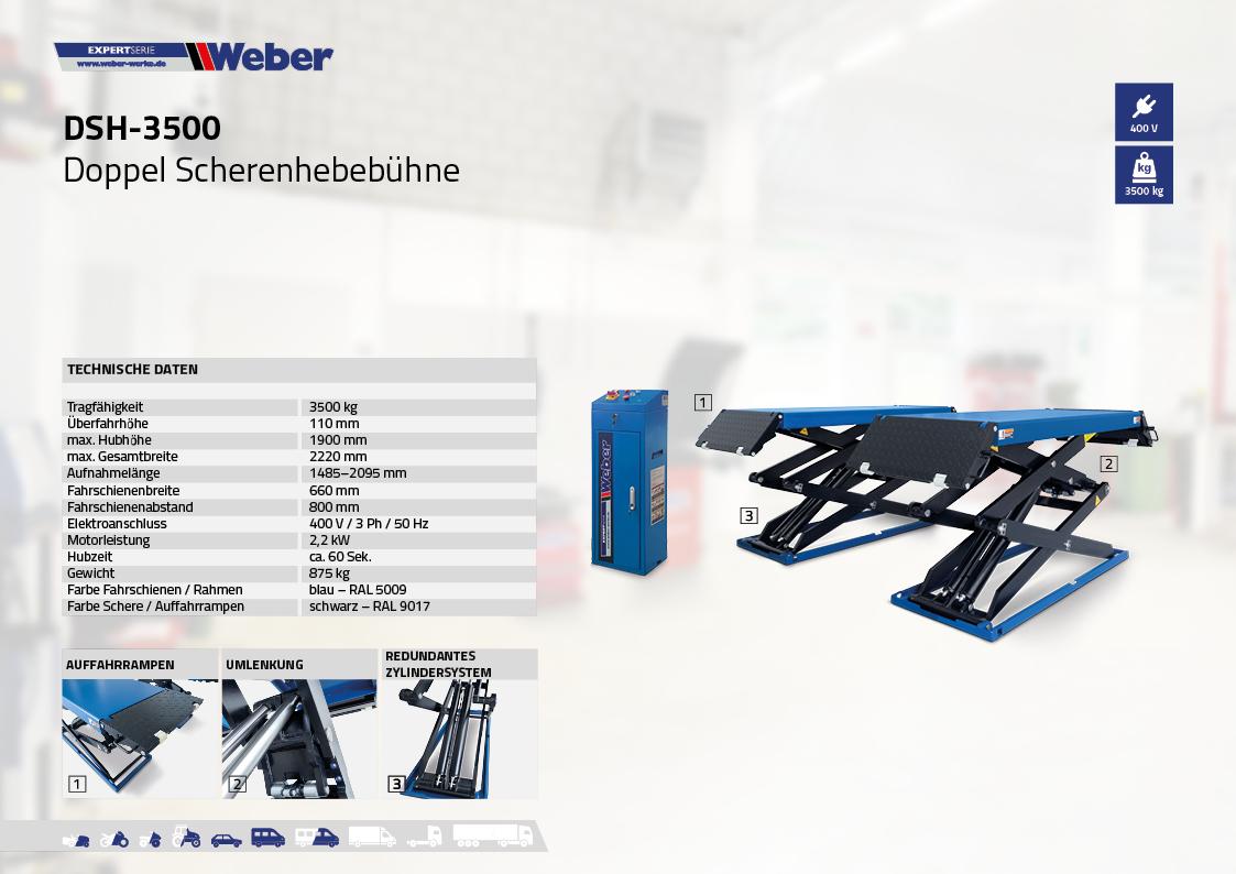 Doppel Scherenhebebühne Weber Expert Serie DSH-3500