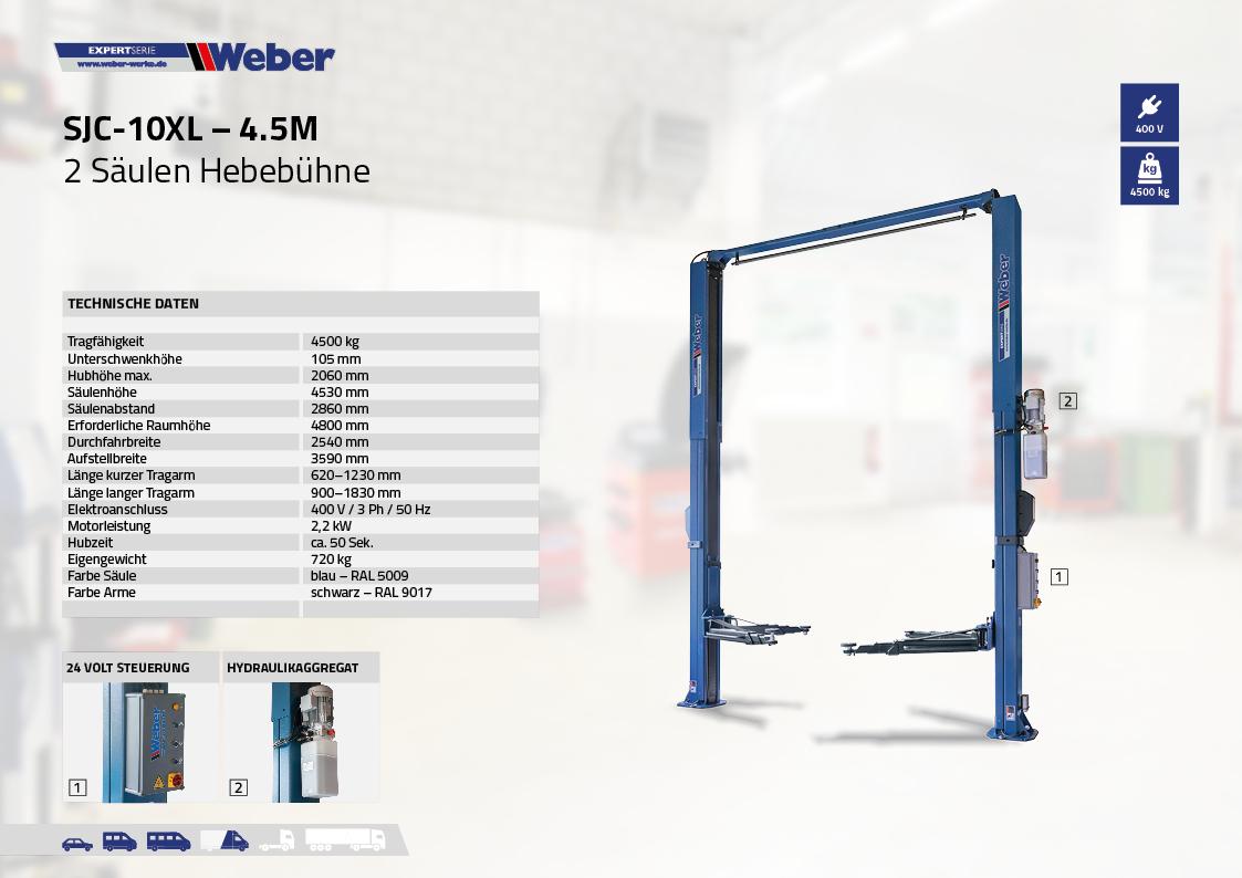 2 Säulen Hebebühne Weber Expert Serie SJC-10XL – 4.5M